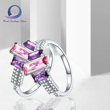 Charming 2.7CT Pink Topaz Amethyst 925 Sterling Silver Ring Jewlery Size 6 7 8 9