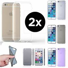 2pcs x 0.2mm ULTRA THIN CLEAR Rubber TPU Rugged Soft Back Cover Case For iPhone