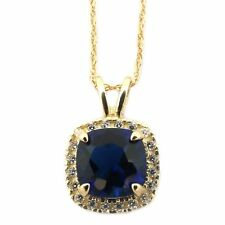 14k Yellow/White Gold Simulated Blue Sapphire & CZ 8mm Cushion Cut Halo Necklace