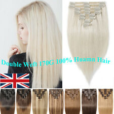 UK Extra Thick 100% Remy Clip In Human Hair Extension Full Head Double Weft C009