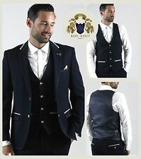 Mens Marc Darcy Designer Navy Denim Look Blazer Waistcoat Trouser
