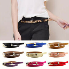 2017 Women Lady Candy Color Thin Skinny Waistband Belt Leather Narrow 1.2cm Wide