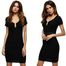 Women Mini Dress Solid Cut Out V-Neck Short Sleeves Bodycon Party Dress M1B5