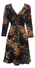 New Black Floral 1940's Vtg WW2 style Land Girl Wartime Jersey Tea Dress