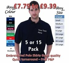 Personalised Embroidered Unisex Polo Shirts 5x 15x Custom Work Hen Stag Business