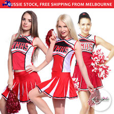 Glee Cheerleader Costume High School Uniform Fancy Dress Role Play Outfit Red