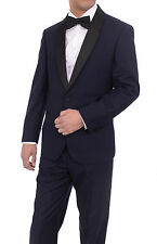 Mens Slim Fit Navy Blue One Button Tuxedo Suit With Black Satin Shawl Lapel
