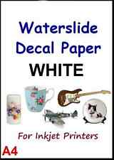 """CLEAR & WHITE A4 INKJET WATER SLIDE DECAL PAPER 1-20 SHEET 8.3"""" x 11.7"""""""