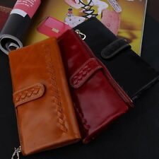 Women Wallets Handmade Weave Ladies Purse Zipper Oil Wax Leather Handbag ZX