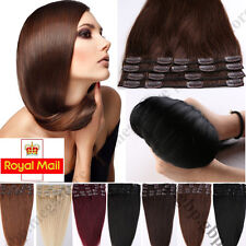 """16""""18""""20""""22"""" Full Head Premium Clip in Human Hair Extensions Remy Real Hair C160"""