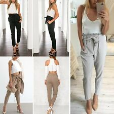 Women's Casual Harem Pants Elastic High Waist Cropped OL Fashion Trousers Summer
