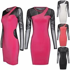 NEW LADIES CUT OUT MESH INSERTS MINI DRESS LOOK WOMENS LONG BODYCON