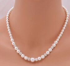 Stunning White Glass Pearl With Diamante Silver AAA Bead Bridal Wedding Necklace