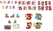 DISNEY CHARACTER CAKE CANDLES - Number Ages Party Kids Birthday Decorations