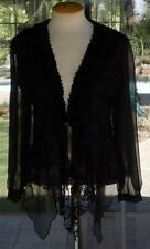 Pretty Angel Lacy Ruffle Crochet Trim  Knit  Long Sleeves Black Blouse Sz. S