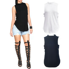 Women Ladies Summer Loose Casual Cotton Sleeveless Vest T Shirt Tank Top Blouse