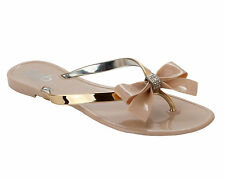 GIRLS NUDE JELLY TOE POST SUMMER HOLIDAY BEACH FLIP FLOP SANDALS UK SIZE 12-4