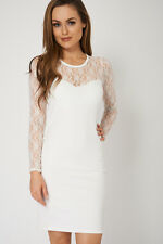 Bodycon White Lace Soft Mini Wedding Party Dress Formal Occasions Womens Ladies