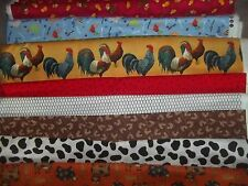 ROOSTER chicken cow FARM BTY Cotton quilt FABRIC UPick READ LISITING for DETAILS