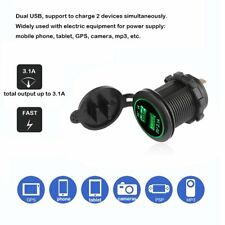 12/24V Cigarette Lighter Power Socket Dual USB Adapter Charger Car Boat Truck