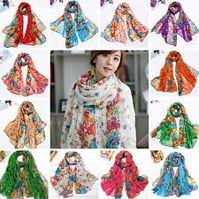 Womens Flower Floral Print Soft Long Wrap Scarf Stole Shawl Xmas Gift Marketable