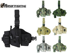 Airsoft Molle QD Versatile Drop Leg Holster with Radio Pouch Hunting Paintball
