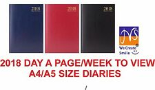 2018-19 Diary A4/A5 Day a Page/Week to View Hard Back Diary/Desk Diary/Calendar