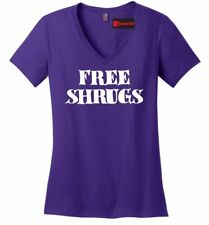 Free Shrugs Funny Ladies V-Neck T Shirt IDK Dont Care College Humor Gift Tee Z5