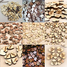 100pcs Rustic Wooden Wood Love Heart Wedding Table Scatter Decoration Crafts
