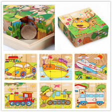 Children Cartoon 6 Sides Puzzle Blocks Colorful Educational Kids Wooden Toy Gift