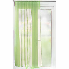 Slot Top Sheer Voile Curtain Panel – 59 inch Width – Lime Green – Ready Made