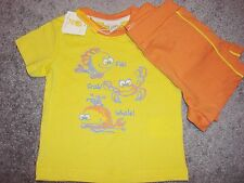 BABY BOYS 2 PIECE OUTFIT OF YELLOW T-SHIRT AND ORANGE SHORTS AGE 3,6 AND 9 MTHS