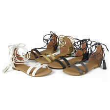 Brinley Co. Womens Tassle Lace-up Flat Faux Leather Sandals