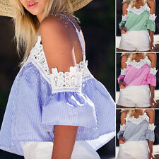 Fashion Womens Off-shoulder Sexy Casual Summer Blouse Loose Crop Tops T-Shirt
