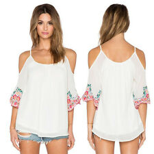 Summer Women Off Shoulder Lace Camisole Casual Loose Blouse T Shirt Chiffon Tops