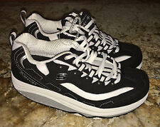 NEW Womens 6.5 SKECHERS Strength Shape Ups Toning Black Wh Fitness Walking Shoes