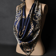"Women's Blue Leopard Silk-Satin Square Scarves Office Fashion Head Shawl 35""*35"""