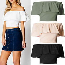 NEW WOMEN BARDOT FRILL CROP TOP LADIES BODYCON CREPE OFF SHOULDER 2in1 LOOK TOPS