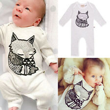 Baby Boy Infant Fox Long Sleeve Fox Romper Jumpsuit Bodysuit Kids Clothe Outfit^