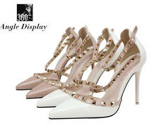 NEW Women Studded Shoes Pointed Toe Ankle Strappy Pumps High Heels Rivet Sandals