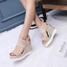 Womens Wedge Platform High Heel Open Toe Buckle Punk Ankle Strap Sandal Shoes