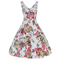 White Multi Floral 50s Vintage Summer Party Cocktail Rockabilly Swing Dress