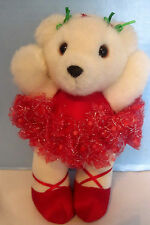 1992 Dakin Twinkle Toes Ballerina Bear White with Red TuTu