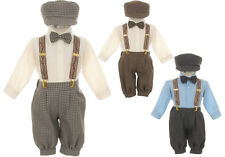 New Baby Toddler Boys Blue Brown Taupe Knickers Vintage Set Outfit Wedding Party