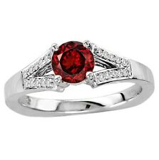 925 Sterling Pure Silver Ring 6mm Natural Red Garnet Red Color Gemstone Ring