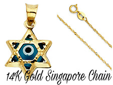 14K Yellow Gold Evil Eye Star Pendant Necklace Box/Rope/Singapore/Curb Chain