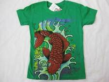 ED HARDY girls kids bright green koi fish colorful t-shirt tee top s/s NEW