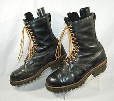 RED WING Leather Logger Work Boots Black 12 D