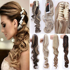 Fashion Long Wavy Women Lady Clip in on Hair Extensions Ponytail Straight Curly