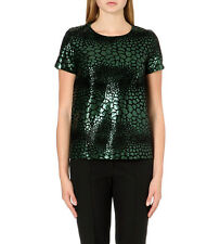 NWT$198 French Connection FCUK Sequined 'Croc' Flock Textured Top,2,Green,72CXC